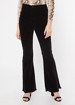 Cello Black Corduroy Frayed Flare Pants