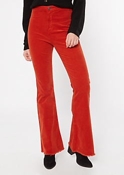 Cello Medium Red Corduroy Frayed Flare Pants