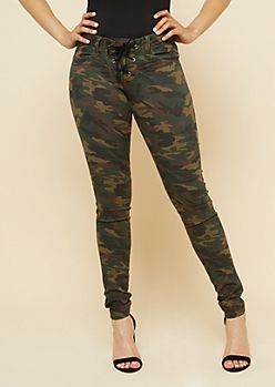 Camo Low Rise Lace Up Jeggings