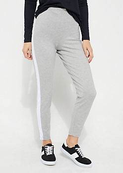 Heather Gray Contrasting Striped Pattern Ponte Pants