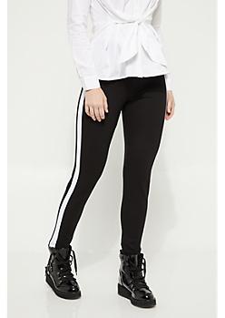 Black Contrasting Striped Pattern Ponte Pants