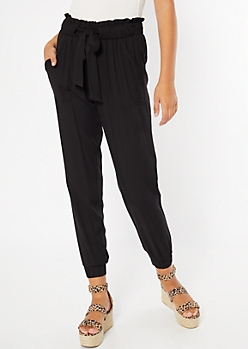 0ded55c106 Black Paperbag Waist Cinched Pants