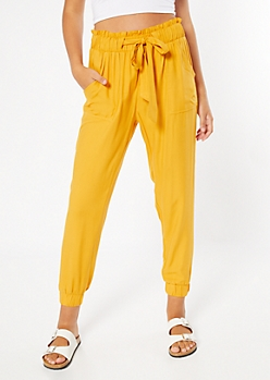 Mustard Paperbag Waist Cinched Pants