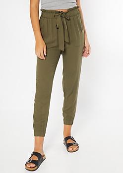 Olive Paperbag Waist Cinched Pants