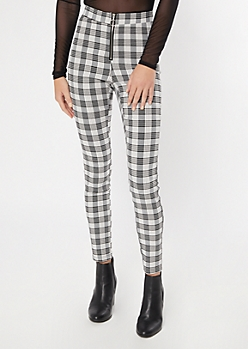 Black Plaid O Ring Zip Stretch Pants
