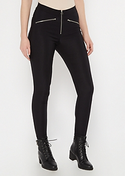 Black O Ring Front Zip Pants
