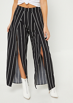 Striped Split Front Palazzo Pants