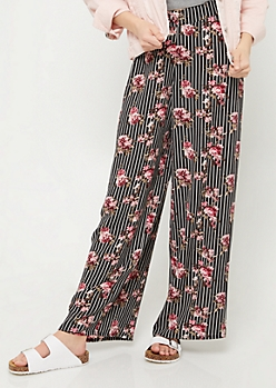 Black Striped and Floral Print Palazzo Pants
