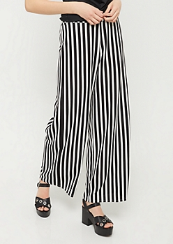 Black Striped Pattern Palazzo Pants