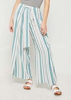 Blue Stripe Pattern Tie Front Palazzo Pants