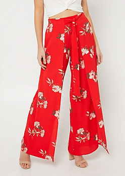 Red Floral Print Tie Front Palazzo Pants