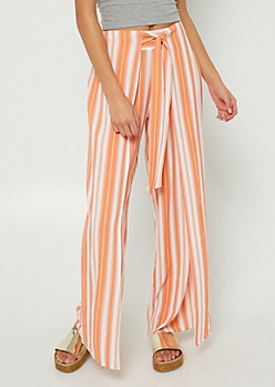 Coral Tie Front Palazzo Pants