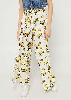 Ivory Lemon Print Tie Front Palazzo Pants