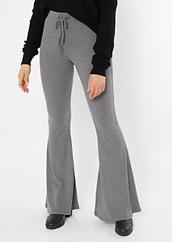 Gray Ribbed Knit Drawstring Flare Pants