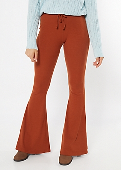 Cognac Ribbed Knit Drawstring Flare Pants