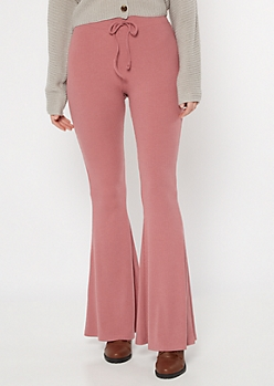 Mauve Ribbed Knit Drawstring Flare Pants