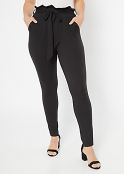 Black Super Soft Paperbag Waist Tapered Pants