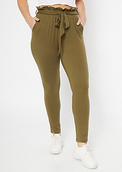 Olive Super Soft Paperbag Waist Tapered Pants