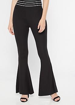 Black Super Soft Ribbed Knit Flare Pants