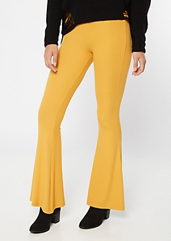 Yellow Super Soft Ribbed Knit Flare Pants