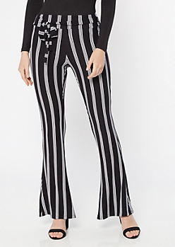 Black Super Soft Striped Tie Flare Pants