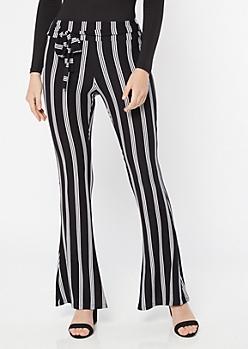 Black Super Soft Striped Tie Flare Pants
