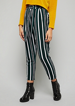 Dark Green Striped Tie Front Pants