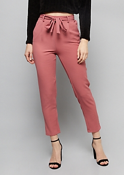 Pink Belted Tie Front Cropped Pants