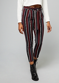 Burgundy Striped Tie Front Flared Pants