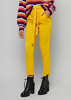 Mustard Belted Tie Front Cropped Pants