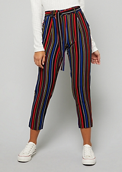 Green Striped Tie Front Flared Pants