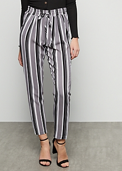 Gray Striped Tapered High Waisted Pants