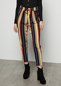 Yellow Striped Tapered High Waisted Pants