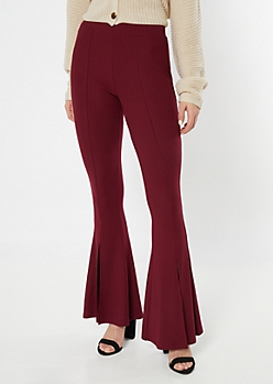Burgundy Ribbed Knit Split Hem Flare Pants