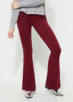 Burgundy Soft Brushed Flare Pants