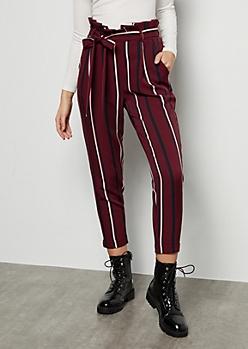 Burgundy Striped High Waisted Paperbag Waist Pants