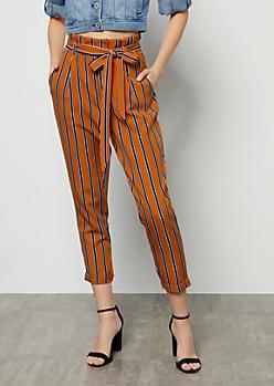 Mustard Striped High Waisted Paperbag Waist Pants