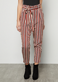 Burnt Orange Striped High Waisted Paperbag Waist Pants