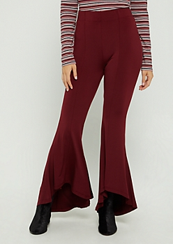 Burgundy Knit Cascading Flare Pants