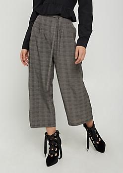 Dark Plaid Print Wide Leg Pants