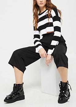 Black Crepe Wide Leg Pants