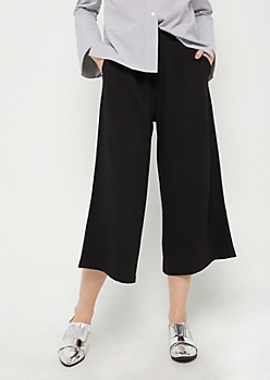 Black Crepe Wide Leg Pants