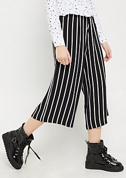 Pencil Striped Crepe Wide Leg Pants