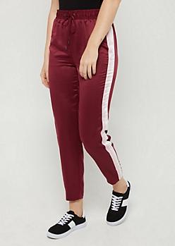 Burgundy Striped Satin Pants