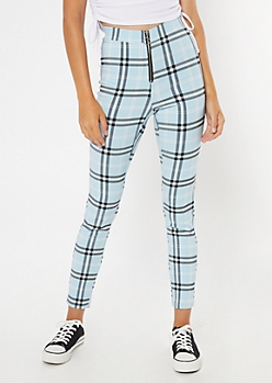Blue Plaid O Ring Skinny Pants