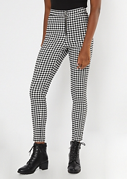 White Plaid O Ring Skinny Pants