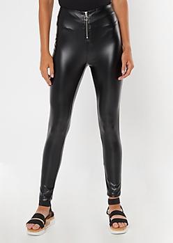 Black O Ring Zipper Faux Leather Pants