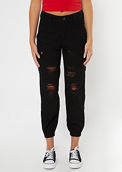 Black Ripped Utility Cargo Joggers