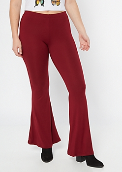 Burgundy Super Soft Flare Pants