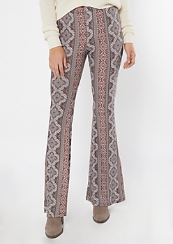 Cognac Border Print Super Soft Flare Pants